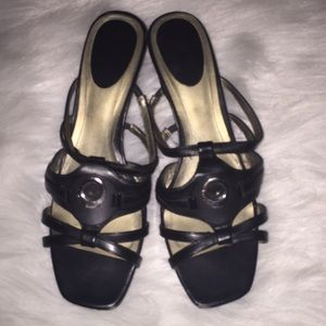 East5th Black Strappy Wedge Heel Sandals